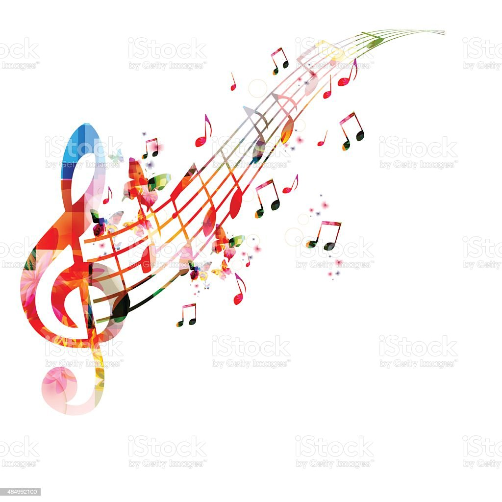 Colorful Background With Music Notes Royalty Free Stock Vector Art