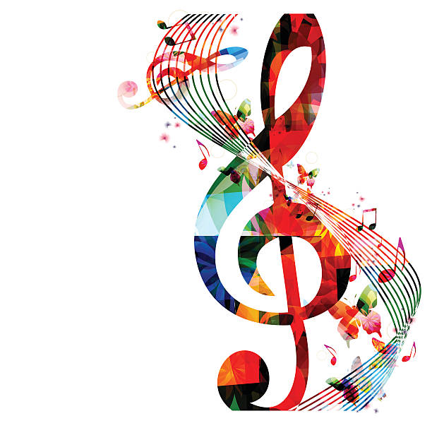 stockillustraties, clipart, cartoons en iconen met colorful background with music notes - orkest