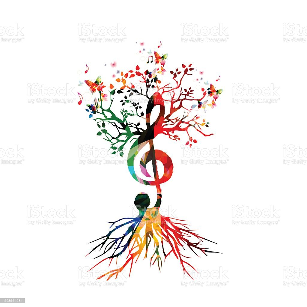 Colorful background with music notes vector art illustration