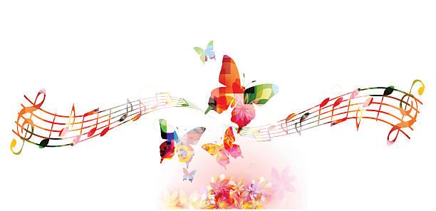 kolorowe tło z muzyką zauważa - harmonia instrument stock illustrations