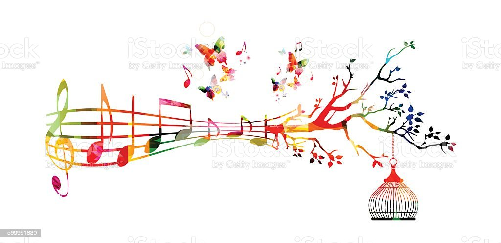 Colorful Background With Music Notes Stock Vector Art