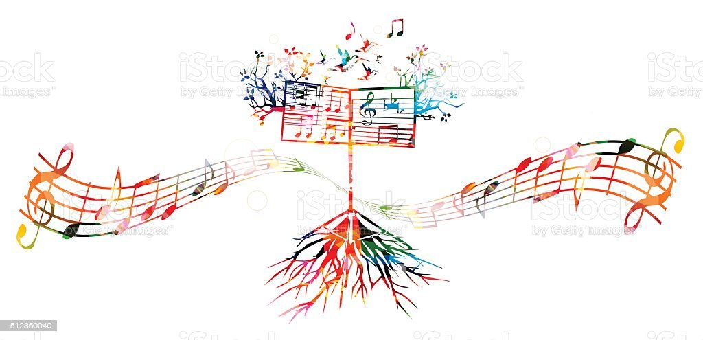 Colorful background with music stand vector art illustration