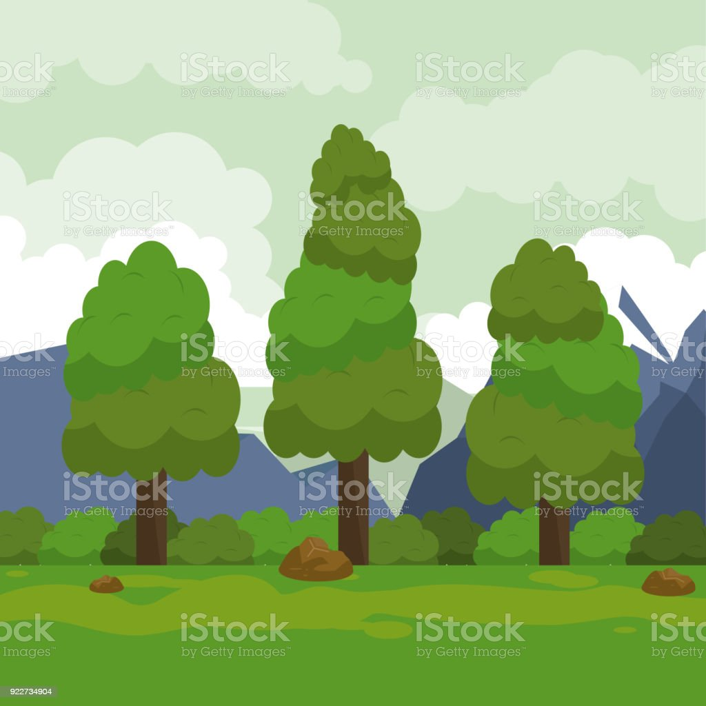 Colorful Background With Rural Landscape With Mountains And Trees ...