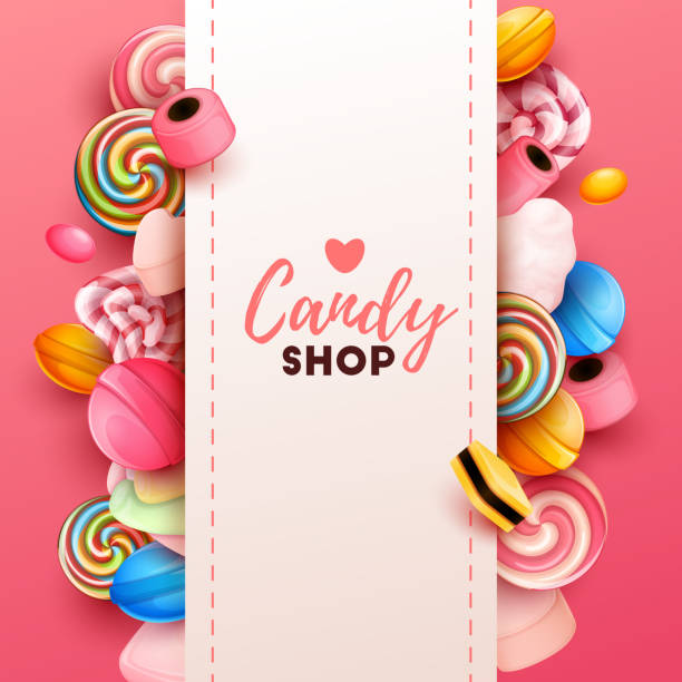 Colorful  background with sweets Colorful  background with sweets. Vector Illustration candy stock illustrations