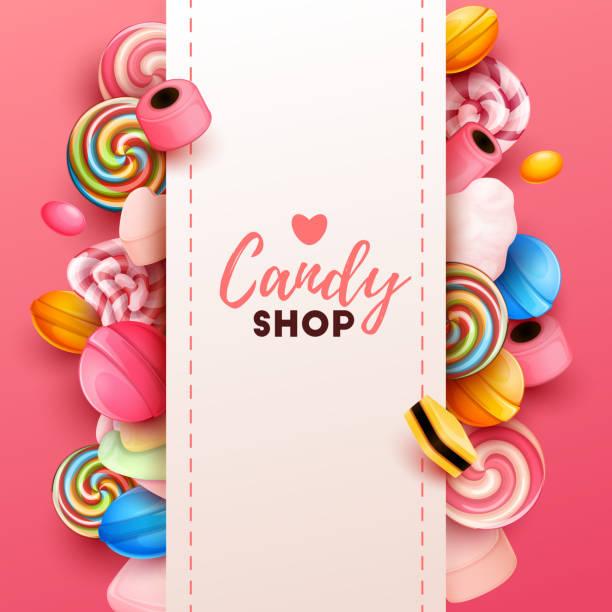 ilustraciones, imágenes clip art, dibujos animados e iconos de stock de fondo colorido con dulces - postre