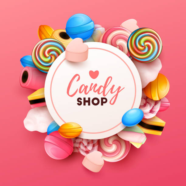 Colorful  background with sweets vector art illustration