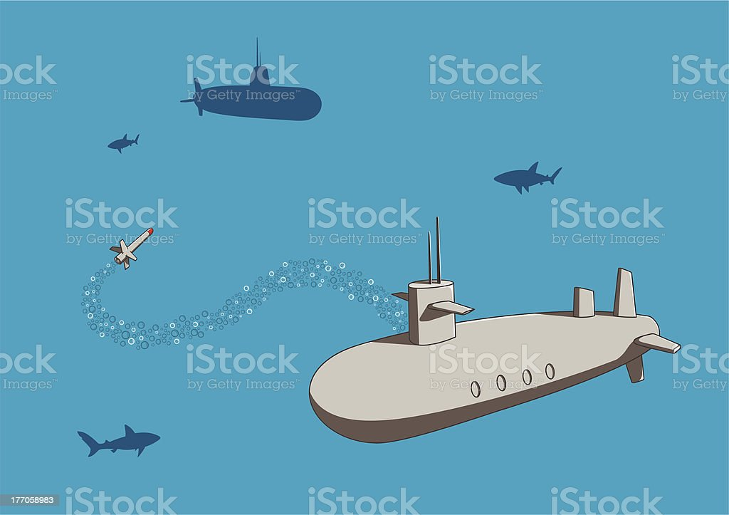 Colorful background with two submarines at war royalty-free stock vector art
