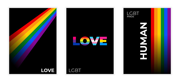 LGBT colorful backgrounds with gradient lines for flyer, poster, brochure, typography or other printing products. Vector illustration.