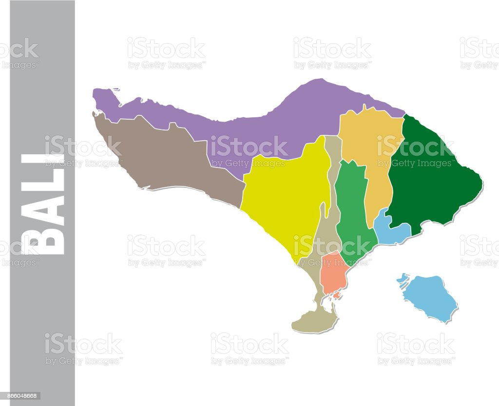 Colorful Bali Administrative And Political Map Stock