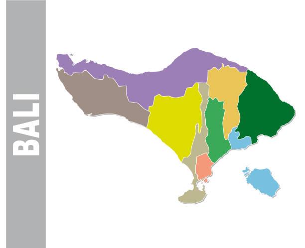 bunte bali administrative und politische karte - denpasar stock-grafiken, -clipart, -cartoons und -symbole