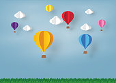 colorful Ballon and Cloud in the  blue sky with paper art design , vector design element  and illustration