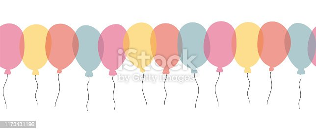 Colorful balloon seamless vector border on a white background for celebration, holiday, birthday party card. Hand drawn illustration.