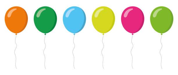 bunte luftballons-sammlung. flachen stil. vektor-illustration - ballon stock-grafiken, -clipart, -cartoons und -symbole