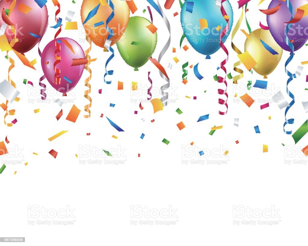 Colorful balloons, confetti and streamers on white background vector art illustration