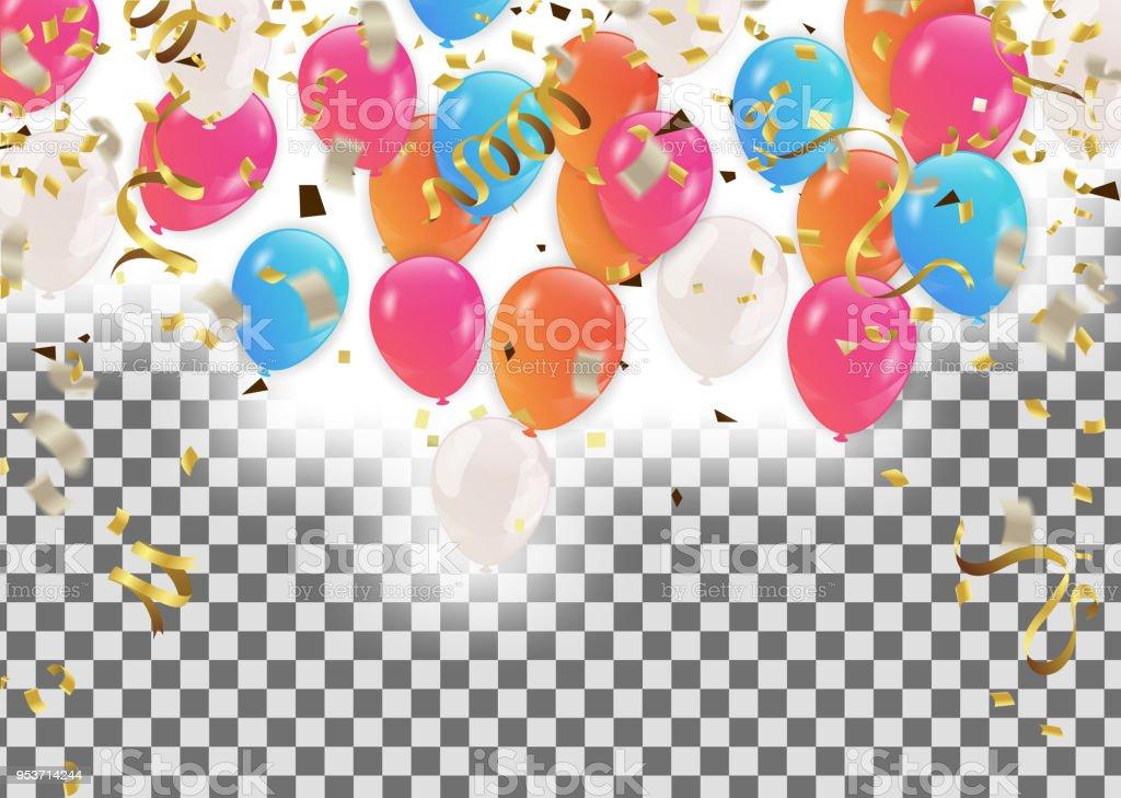 Bunte Luftballons Happy Birthday Holiday Rahmen Oder Hintergrund Mit ...