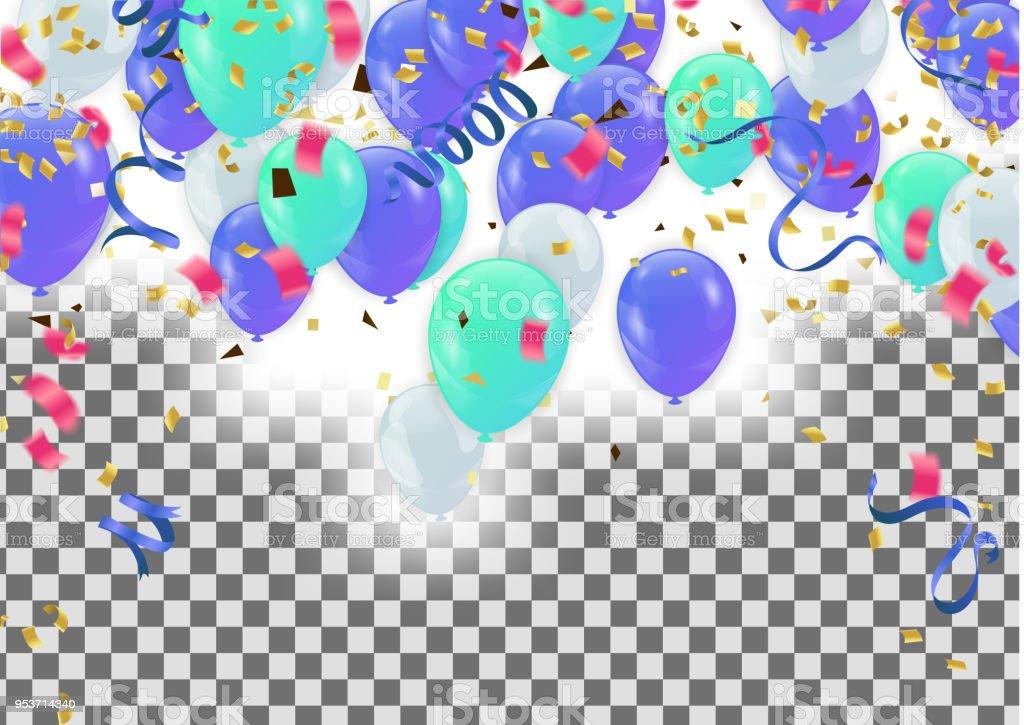Ilustración de Coloridos Globos Feliz Cumpleaños Vacaciones Marco O ...