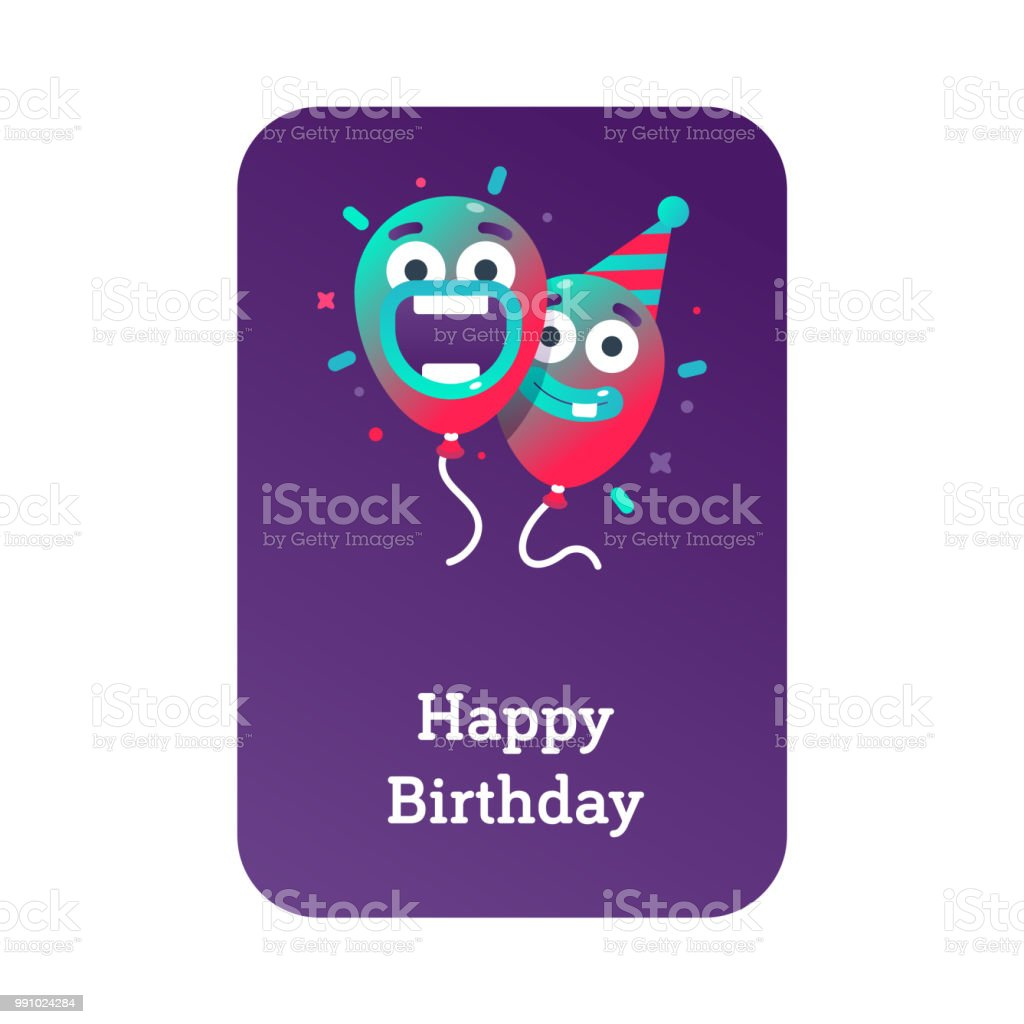 Colorful Balloons In Party Hat For Birthday Parties And