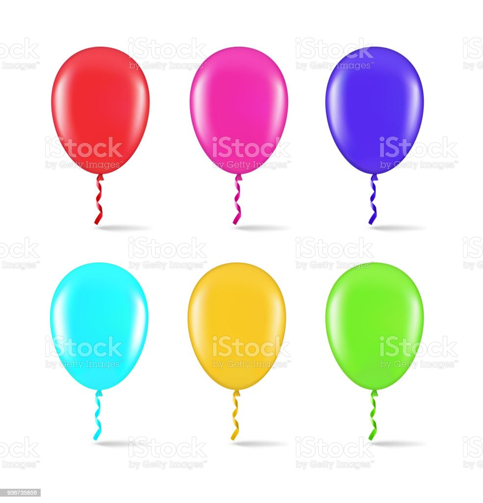 Colorful balloons isolated on white background. vector art illustration