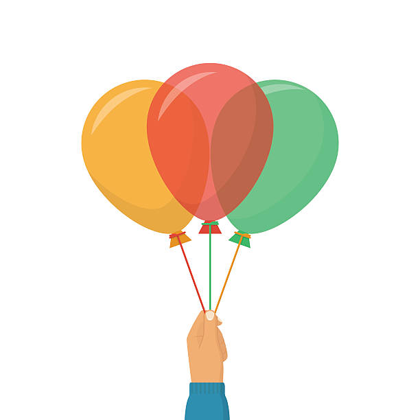 Colorful balloons on a ribbon vector art illustration