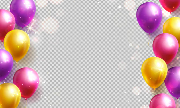 Colorful balloons on a transparent background. Vector. Colorful balloons on a transparent background. Vector borders for birthday or party decoration. birthday background stock illustrations