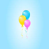 Vector Colorful Balloons on Blue Background, Birthday Card, Party Invitation Card