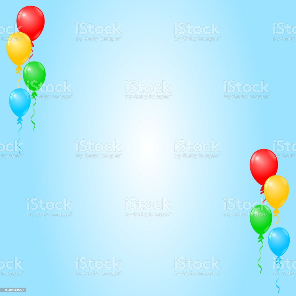Colorful Balloons On Blue Background Birthday Card Party