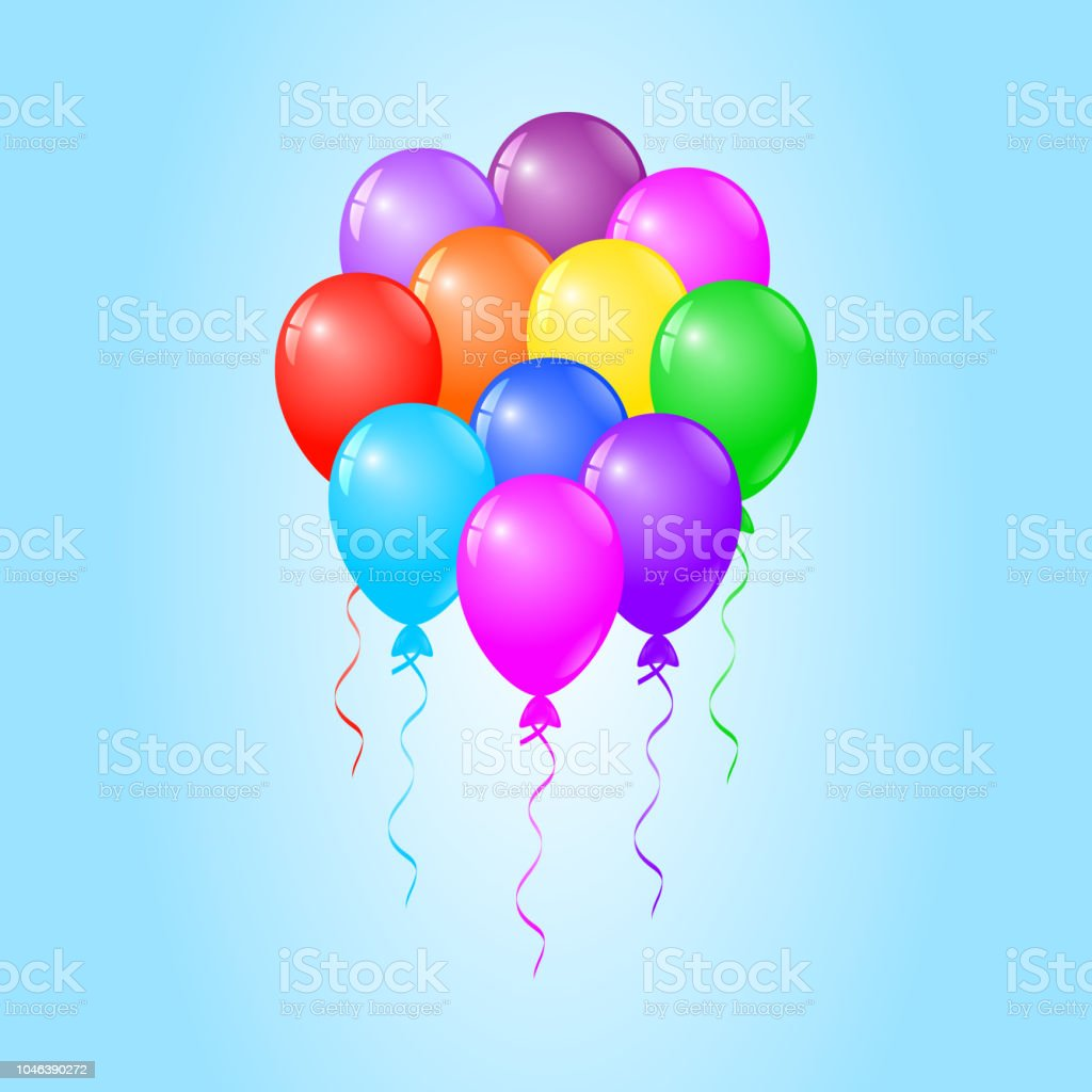 Colorful Balloons On Blue Background Birthday Card Party Invitation