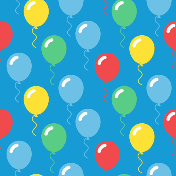 colorful balloons seamless simple pattern on blue background - anniversary clipart stock illustrations