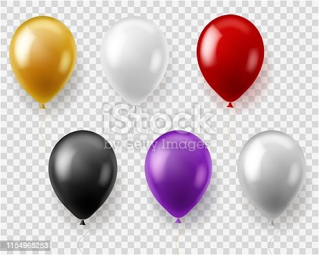 Colorful balloons set. Round balloon flying toys gift celebration birthday party wedding carnival, realistic baloons vector design
