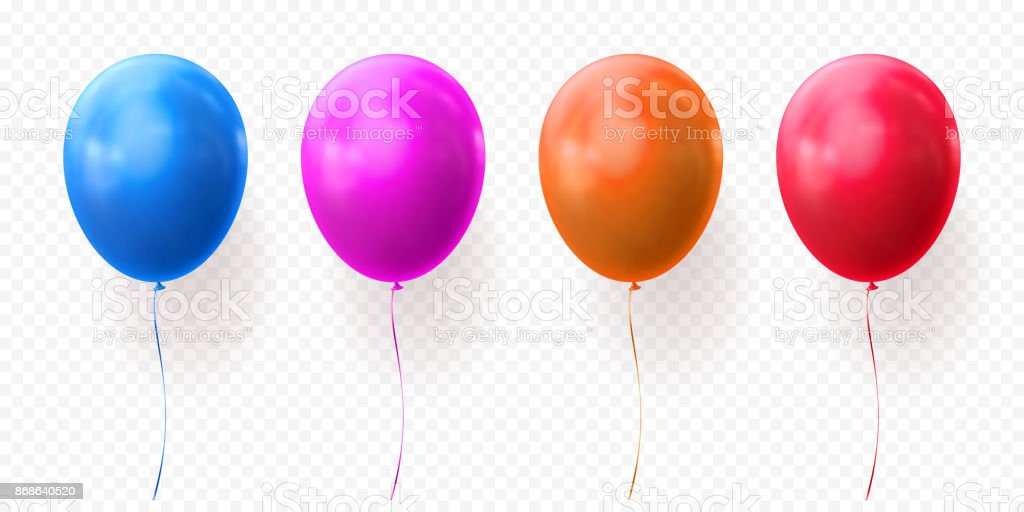 Colorful balloons vector transparent background glossy realistic baloons for Birthday party vector art illustration