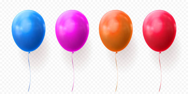 Colorful balloons vector transparent background glossy realistic baloons for Birthday party Colorful balloons vector on transparent background. Glossy realistic glossy baloons for Birthday party illustration or greeting card design element hot air balloon stock illustrations