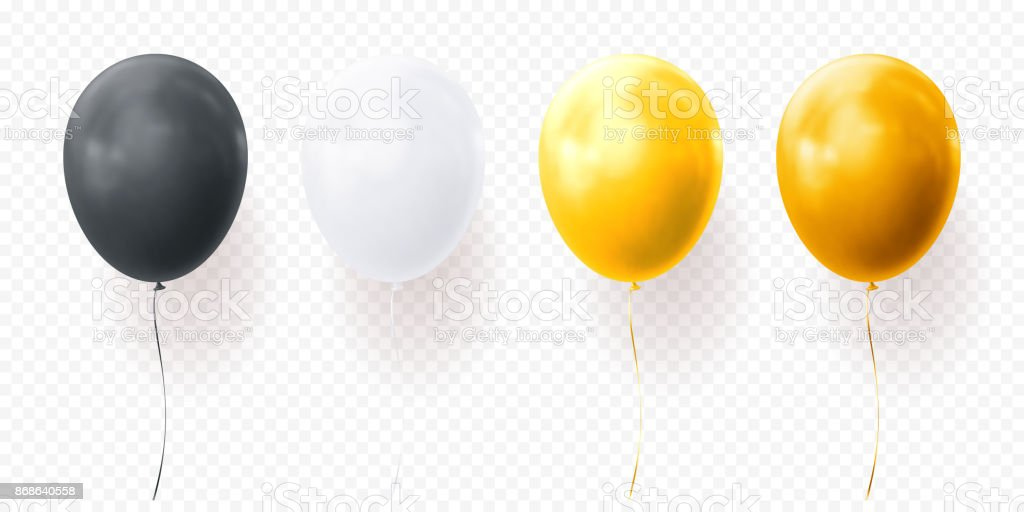 Colorful balloons vector transparent background glossy realistic black baloon for Birthday party vector art illustration
