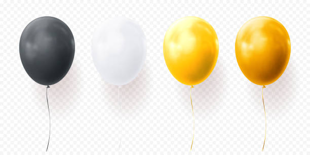 Colorful balloons vector transparent background glossy realistic black baloon for Birthday party Colorful balloons vector on transparent background. Glossy realistic yellow, black and white glossy baloons for Birthday party illustration or greeting card design element hot air balloon stock illustrations