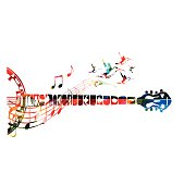 Colorful banjo neck with music notes