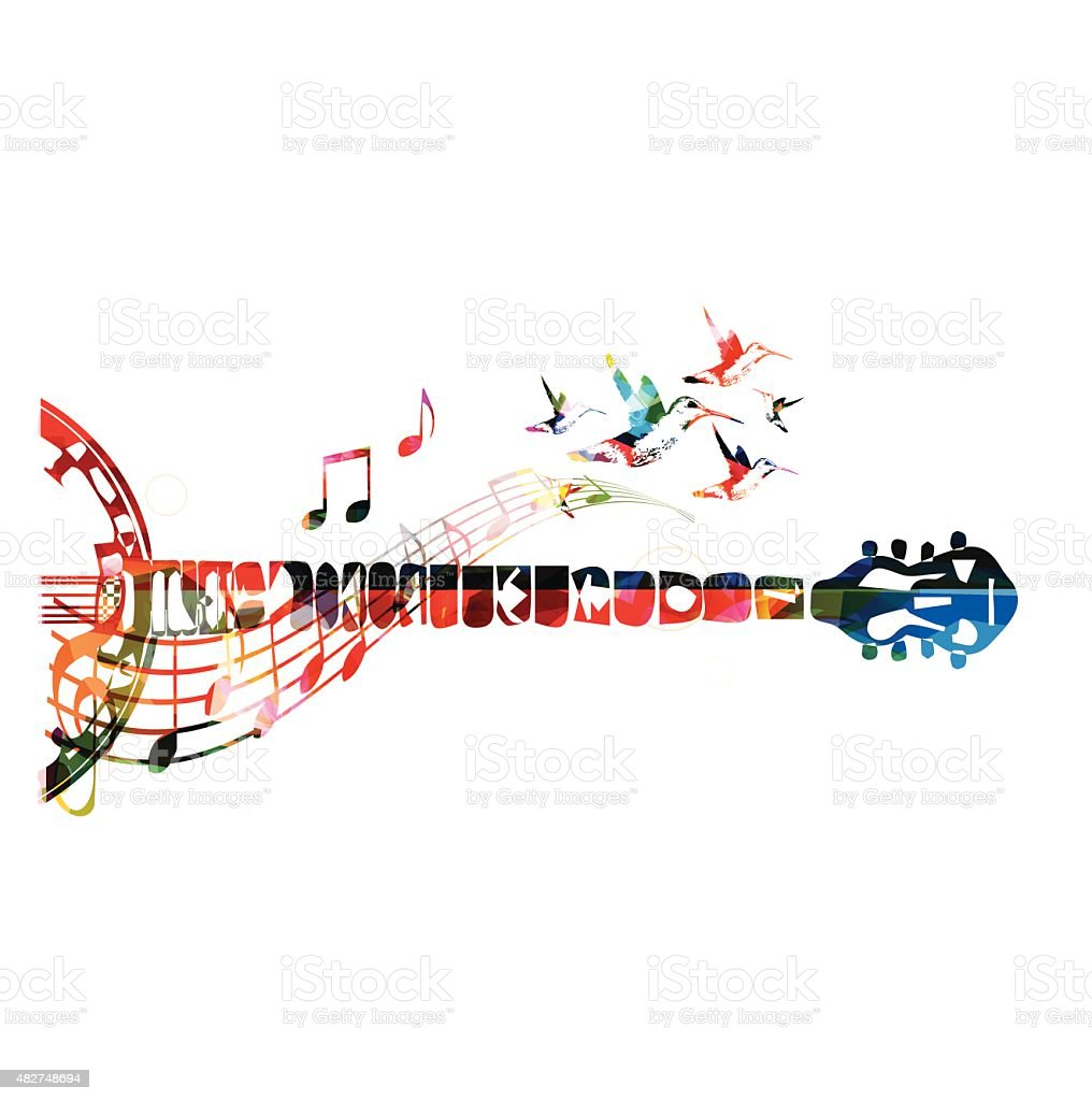 Colorful banjo neck with music notes vector art illustration