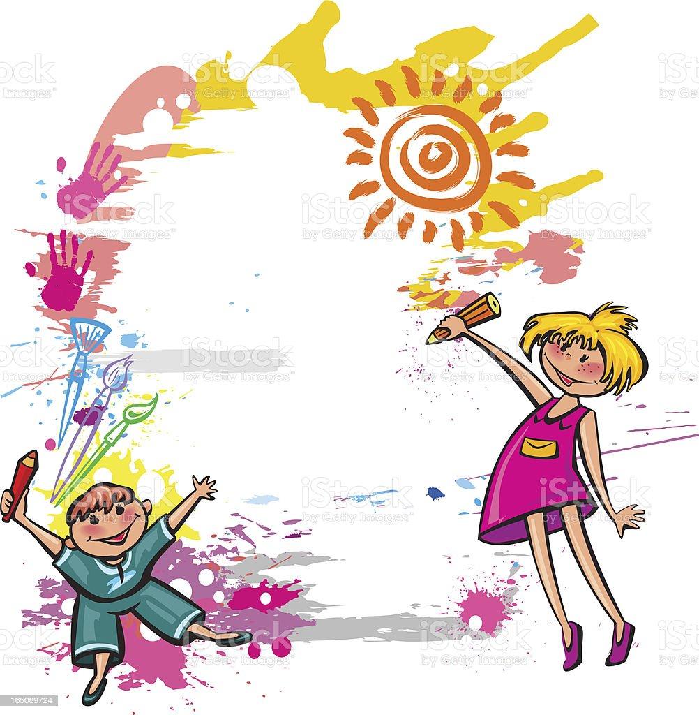 Vetores De Faixa Colorida Com Desenho De Criancas E Mais Imagens