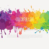 bright and colorful vector banner with paint stains and splatters