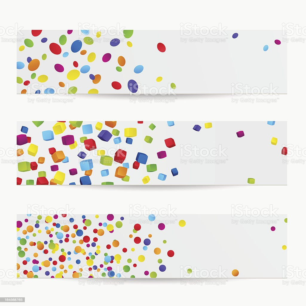 Colorful Banners with abstract, multi Colored elements (cube, Circle) royalty-free colorful banners with abstract multi colored elements stock vector art & more images of abstract