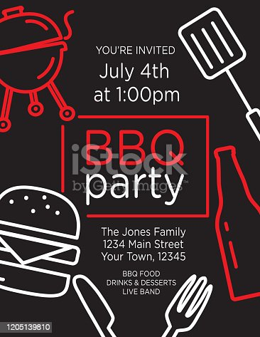 Vector illustration of a Colorful BBQ Party Invitation design template with bright colors and line art design elements. Includes, sample placement text, hamburger, beer, bbq grill and spatula line art icons. Easy to edit Vector eps template.