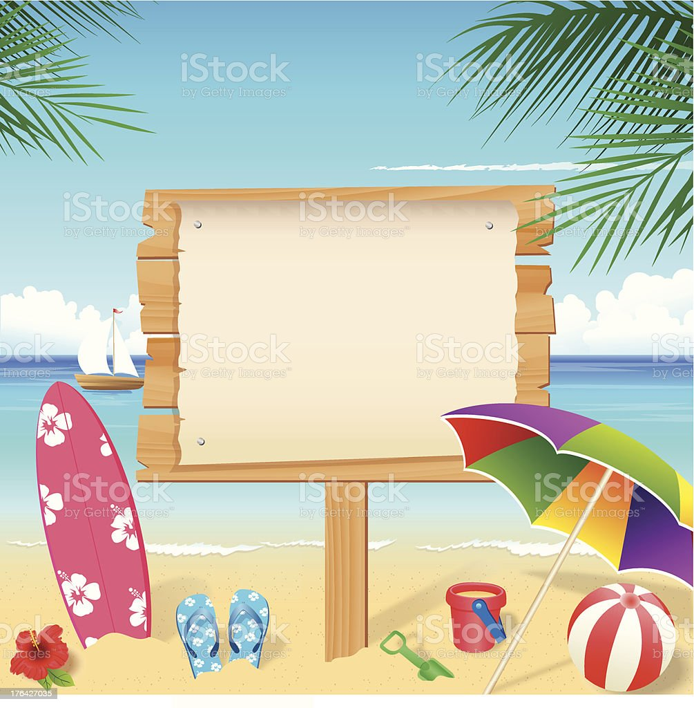 colorful beach accessories with blank wooden sign stock vector art