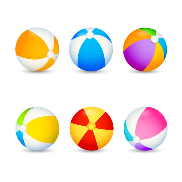 ilustrações de stock, clip art, desenhos animados e ícones de colorful beach ball set - brinquedos na piscina