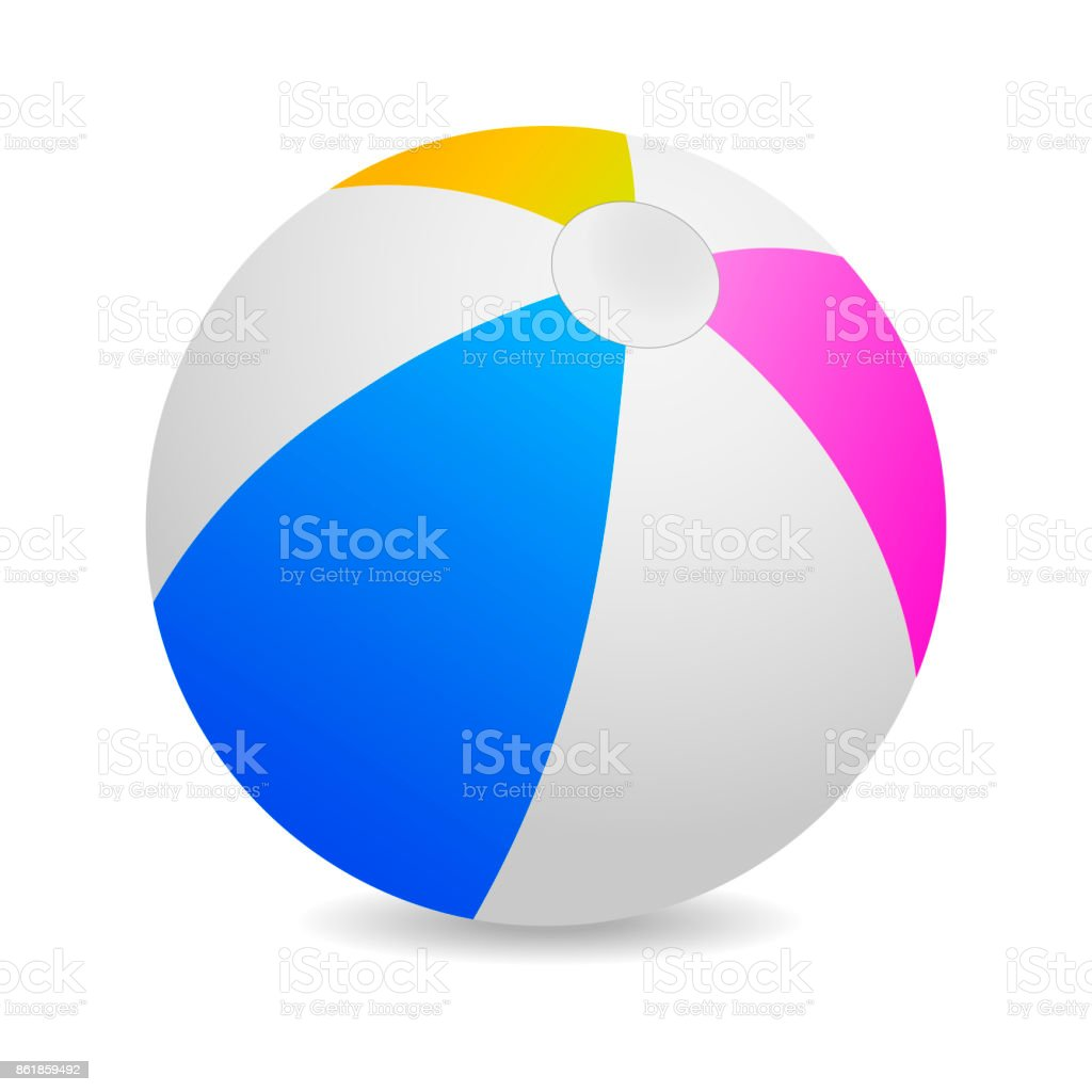 Colorful beach ball vector illustration on white background. vector art illustration