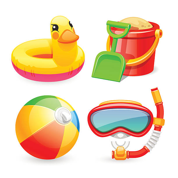 Colorful Beach Toys Icons Set vector art illustration