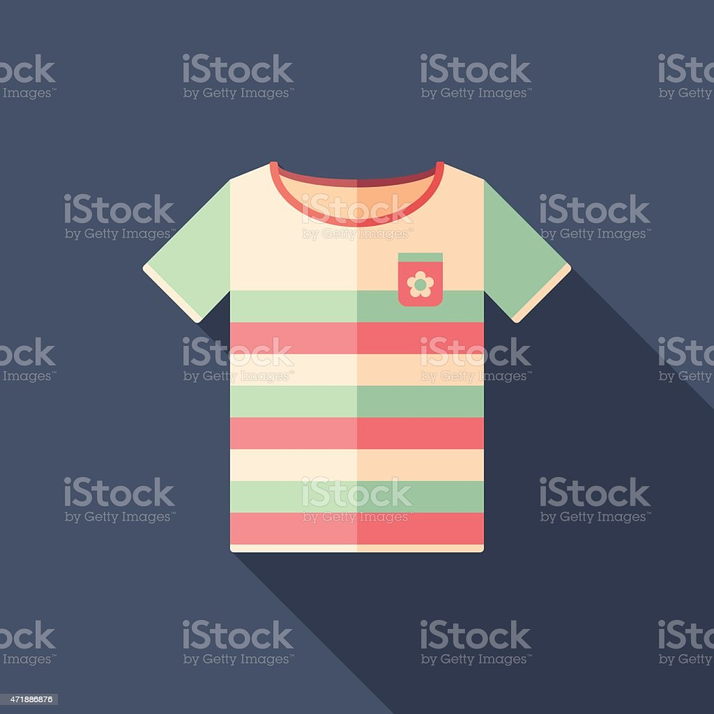 Colorful beach t-shirt flat square icon with long shadows. vector art illustration