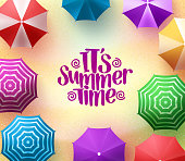 Colorful Beach Umbrellas Background with Summer Time