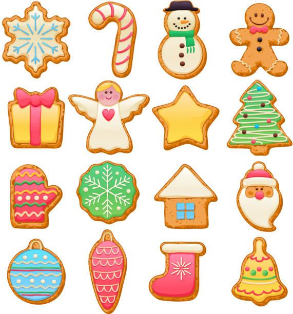 illustrazioni stock, clip art, cartoni animati e icone di tendenza di colorato bellissimo set di icone di natale biscotti - christmas cooking