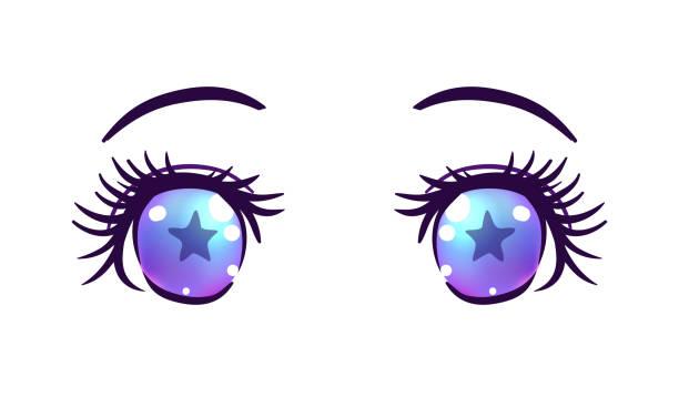 colorful beautiful eyes in anime (manga) style with shiny light reflections. - anime girl stock illustrations