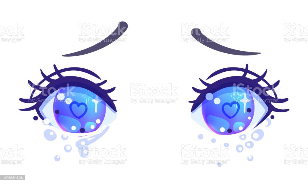 Colorful Beautiful Eyes In Anime Manga Style With Shiny Light Reflections Royalty