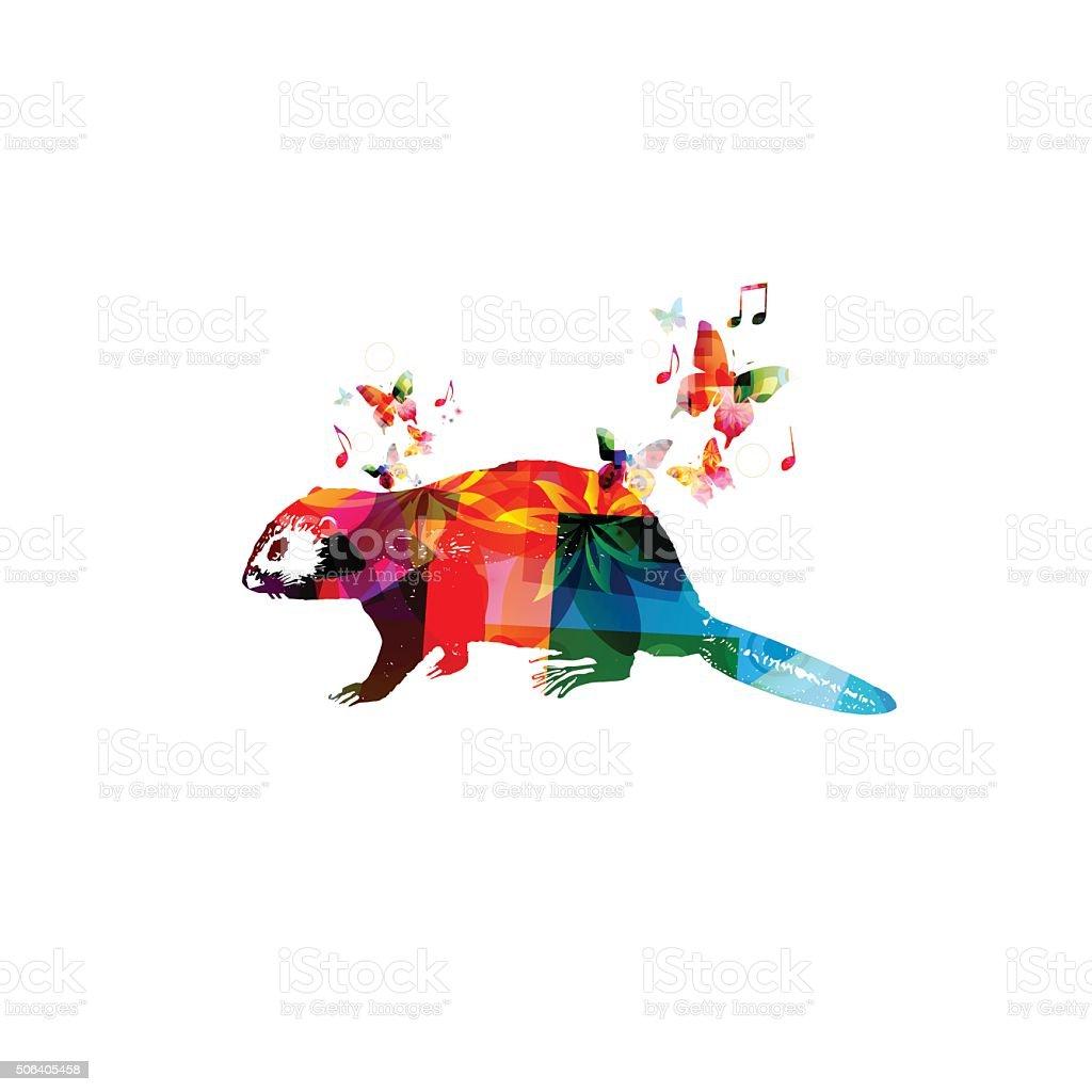 beaver design coloré avec des papillons - Illustration vectorielle