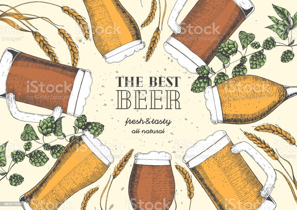 Colorful beer menu design template. Engraved illustration with barley, hops and beer glasses. Brewery frame concept. Hand drawn vector illustration for beer restaurant vector art illustration